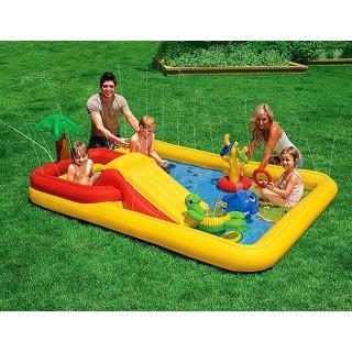 Комплект в кроватку «Барни 2» (в круглую кроватку 7 в 1) желто-бирюзовый